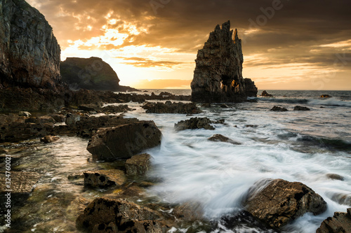 Photo Sunset seascape in Portizuelo beach, Asturias coast, North Spain