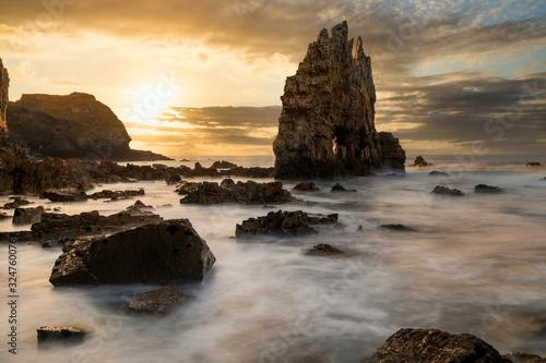 Sunset seascape in Portizuelo beach, Asturias coast, North Spain Wallpaper Mural