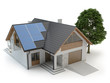 House with solar panels isolated on white, 3d illustration