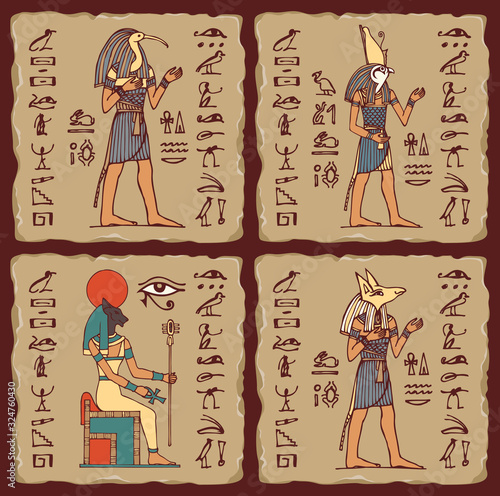 Photo Set of vector banners in the form of ceramic tiles with Egyptian gods and hieroglyphs