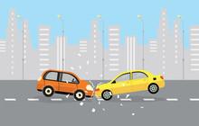 Car Crash. Two Cars Hit Head-o...