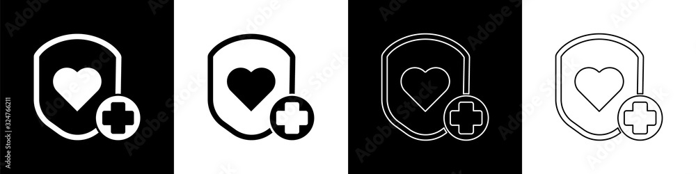 Fototapeta Set Shield and heart rate icon isolated on black and white background. Health protection concept. Health care. Vector Illustration