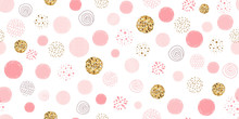 Girl Pink Dotted Seamless Pattern Polka Dot Abstract Background Pink Glitter Gold Circles Vector Pink Print