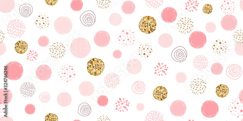 Obrazy do salonu  girl-pink-dotted-seamless-pattern-polka-dot-abstract-background-pink-glitter-gold-circles-vector