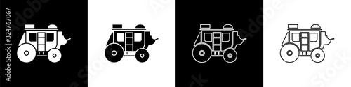 Valokuva Set Western stagecoach icon isolated on black and white background