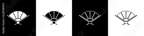Fototapeta Set Traditional paper chinese or japanese folding fan icon isolated on black and white background. Vector Illustration obraz