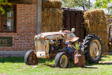 An Old Retro Tractor As A Agri...