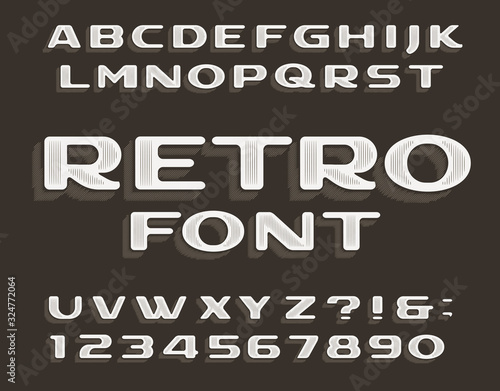 Obraz Retro alphabet font. Vintage letters and numbers. Stock vector typeface for your typography design. - fototapety do salonu
