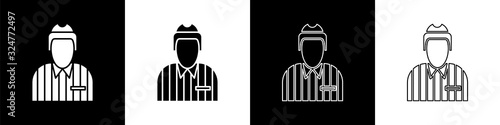 Set Hockey judge, referee, arbiter icon isolated on black and white background Wallpaper Mural