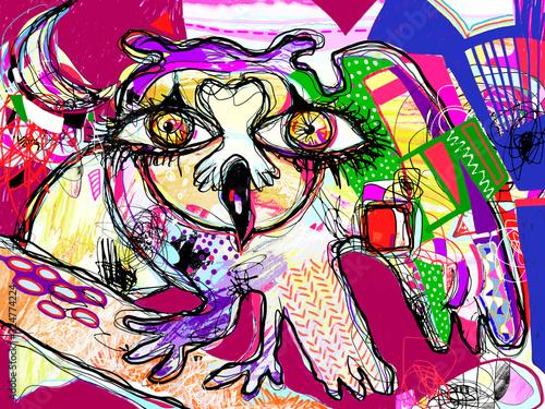 Vászonkép pop art original artwork contemporary digital painting of doodle fantasy owl wit