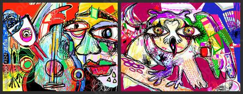 set of two pop art original digital painting - men with guitar and owl bird Tapéta, Fotótapéta