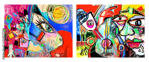 Vászonkép set of two original contemporary art composition