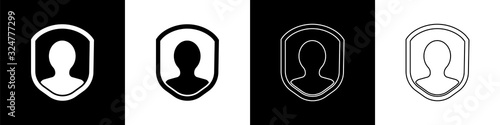 Set User protection icon isolated on black and white background Wallpaper Mural