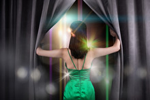 Concept Of Beautiful Guest Speaker Opens Seminar Conference Stage Curtain As Door Windows Of New Opportunity, Life, Chance, Work. Asian Woman Changes Everything Next Day After Winning Diamond Crown.