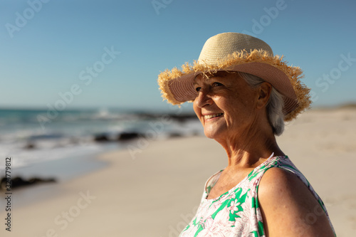 Old woman enjoying free time
