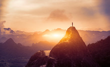 Peak Panoramic View On Foggy Mountains Hills Successfully Achieving Your Goal, Silhouette Male On The Mountain. Success Business Leadership, Winner Man On Top. Business Sport And Active Life Concept
