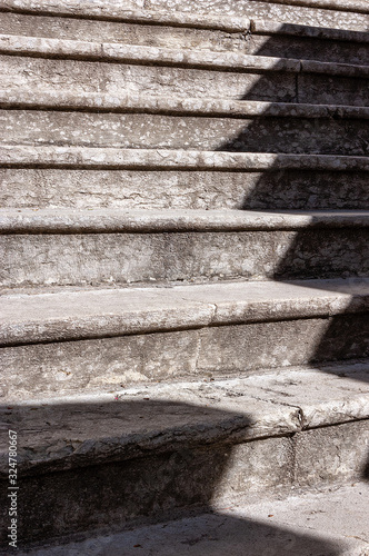 Extreme close up of a staircase with old stone steps - Background