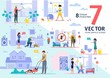 Cleaning Company, Plumber and Disinfection Service Employees Work Scenes Trendy Flat Vectors Set. Worker in Overall Washing Windows, Moving Lawn, Killing Pests, Maid Clean-Up in Room Illustrations