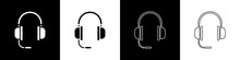 Set Headphones With Microphone Icon Isolated On Black And White Background. Vector Illustration