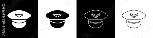 Photo Set Pilot hat icon isolated on black and white background