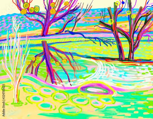 Fényképezés original digital artwork of bright landscape with trees on a river