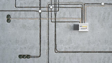 Electrical Wiring And Switchboard On Concrete Wall, 3d Illustration
