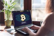 Bitcoin Concept On A Laptop Sc...