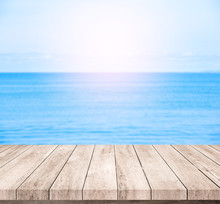 Wood Table Or Wood Floor With Blue Sea Scape Background For Product Display