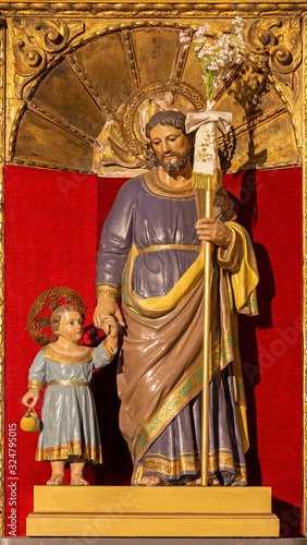 ZARAGOZA, SPAIN - MARCH 3, 2018: The carved polychrome statue of St Canvas Print