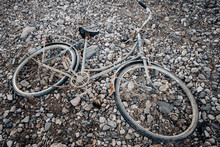 An Old Bicycle Abandoned On A ...