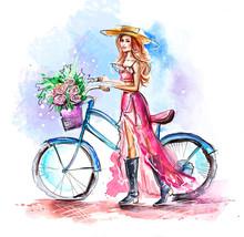 Watercolor Sketch Of Beautiful...