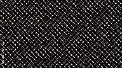 Obraz Black and white cosmic rain of halftone dots. Vector background 16x9. No transparent, no gradients. - fototapety do salonu