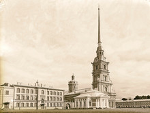 Imitation Vintage Photo: Peter And Paul Cathedral And Grand Ducal Burial Vault In St. Petersburg