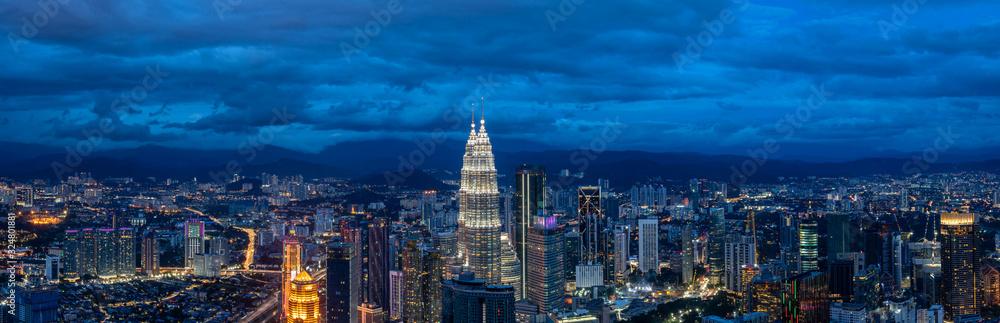 Fototapeta panoramic city skyline in kuala lumpur