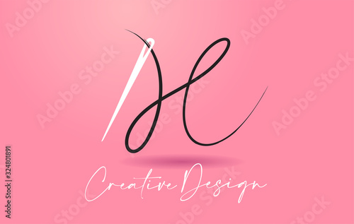 H Letter Logo with Needle and Thread Creative Design Concept Vector Fototapeta