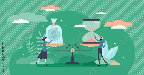 Time and money value concept, flat tiny person vector illustration Wallpaper Mural