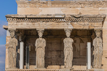 The Erechtheion (or Erechtheum, 406 BC) With Caryatids - Ancient Greek Temple On The North Side Of The Acropolis. Erechtheion Dedicated To Both Athena And Poseidon. Athens, Greece.