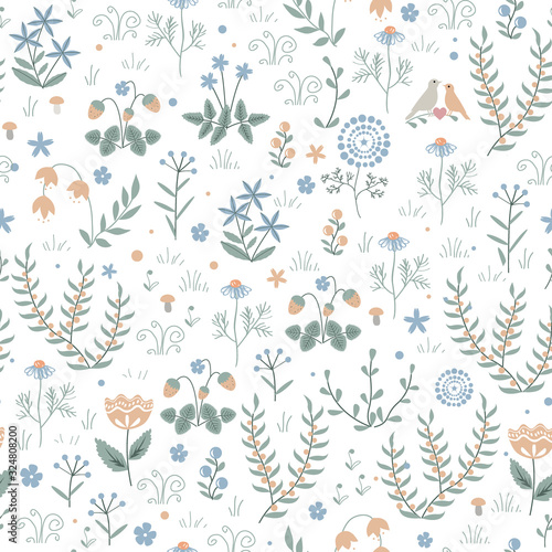 Vector floral seamless pattern with meadow plants, flowers and birds, doodle scandinavian background