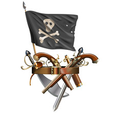 Vector Weapon Belt With Pirate Flag