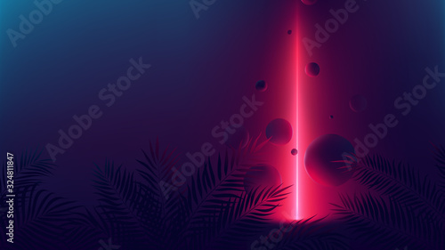 Futuristic allusion red neon ray, light reflex on spheres, vector background wit Wallpaper Mural