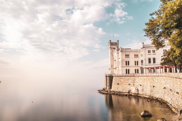 View of Miramare castle on the gulf of Trieste, Italy