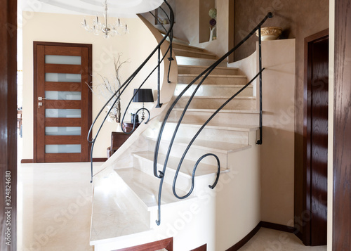 Interior of luxury apartment with modern staircase Canvas Print