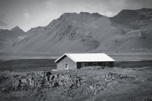Iceland Wooden House. Black An...