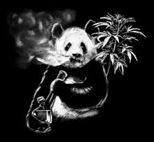 Hand Drawn Smoking Panda On Ch...