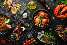 Set Of Seafood Dishes. Fish, S...