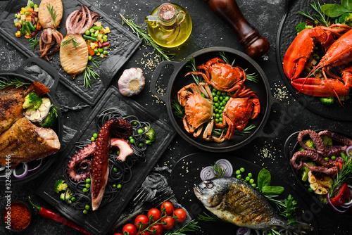 Canvastavla Set of seafood dishes