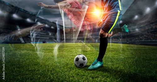 Fotografía double exposure Soccer player kicks the ball on the soccer field