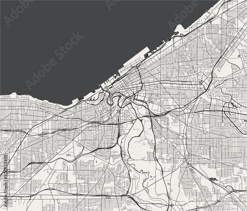 Fototapeta map of the city of Cleveland, Ohio, USA
