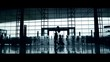 stock video footage modern airport crowd