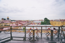 Cafe Terrace On The Roof Top With Beautiful View Of Saint Peterburg Old Town.